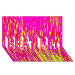 Pink and yellow pattern BEST BRO 3D Greeting Card (8x4)
