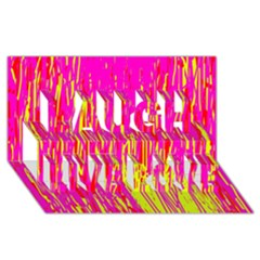Pink and yellow pattern Laugh Live Love 3D Greeting Card (8x4)