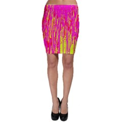 Pink and yellow pattern Bodycon Skirt
