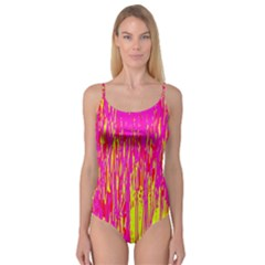Pink and yellow pattern Camisole Leotard