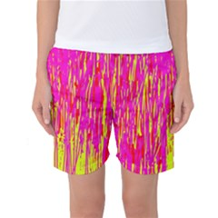 Pink and yellow pattern Women s Basketball Shorts