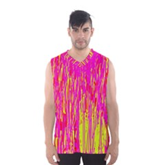 Pink And Yellow Pattern Men s Basketball Tank Top