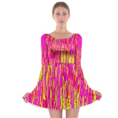Pink and yellow pattern Long Sleeve Skater Dress