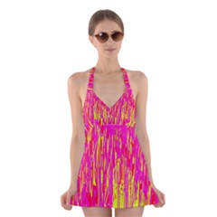Pink and yellow pattern Halter Swimsuit Dress