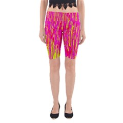 Pink and yellow pattern Yoga Cropped Leggings