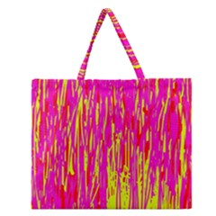 Pink and yellow pattern Zipper Large Tote Bag