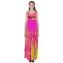 Pink and yellow pattern Empire Waist Maxi Dress