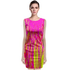 Pink and yellow pattern Classic Sleeveless Midi Dress