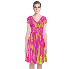Pink And Yellow Pattern Short Sleeve Front Wrap Dress