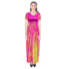 Pink and yellow pattern Short Sleeve Maxi Dress