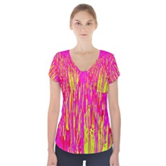 Pink and yellow pattern Short Sleeve Front Detail Top