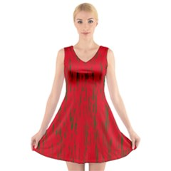 Decorative Red Pattern V Neck Sleeveless Skater Dress