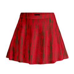 Decorative Red Pattern Mini Flare Skirt