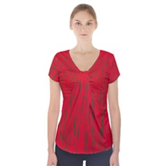 Decorative red pattern Short Sleeve Front Detail Top