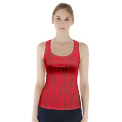 Decorative Red Pattern Racer Back Sports Top