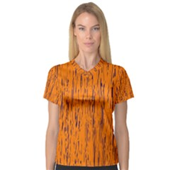Orange pattern Women s V-Neck Sport Mesh Tee