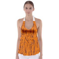 Orange pattern Babydoll Tankini Top