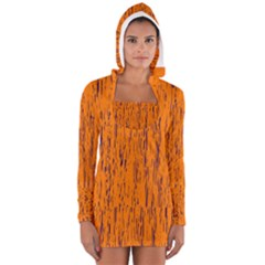 Orange Pattern Women s Long Sleeve Hooded T Shirt