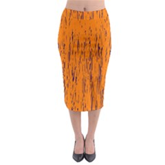 Orange pattern Midi Pencil Skirt