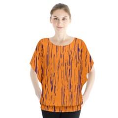 Orange Pattern Batwing Chiffon Blouse