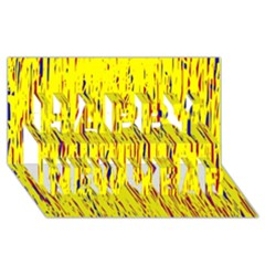 Yellow pattern Happy New Year 3D Greeting Card (8x4)