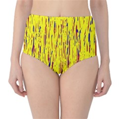 Yellow pattern High-Waist Bikini Bottoms