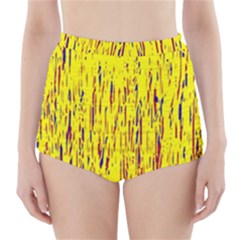 Yellow pattern High-Waisted Bikini Bottoms