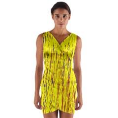 Yellow pattern Wrap Front Bodycon Dress