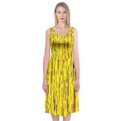 Yellow pattern Midi Sleeveless Dress