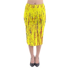 Yellow pattern Midi Pencil Skirt