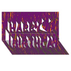 Purple pattern Happy Birthday 3D Greeting Card (8x4)