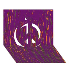 Purple pattern Peace Sign 3D Greeting Card (7x5)