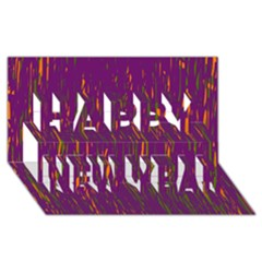 Purple pattern Happy New Year 3D Greeting Card (8x4)