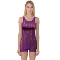 Purple pattern One Piece Boyleg Swimsuit