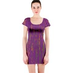 Purple pattern Short Sleeve Bodycon Dress