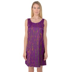 Purple pattern Sleeveless Satin Nightdress