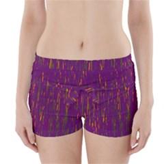 Purple Pattern Boyleg Bikini Wrap Bottoms