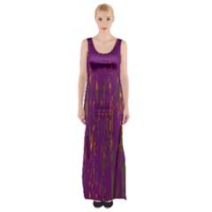 Purple pattern Maxi Thigh Split Dress