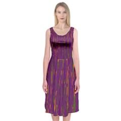 Purple Pattern Midi Sleeveless Dress