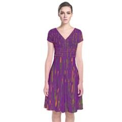 Purple pattern Short Sleeve Front Wrap Dress