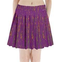 Purple pattern Pleated Mini Mesh Skirt