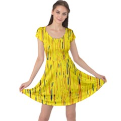 Yellow pattern Cap Sleeve Dresses