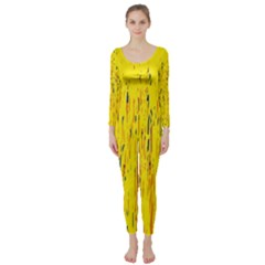Yellow pattern Long Sleeve Catsuit