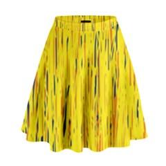 Yellow Pattern High Waist Skirt