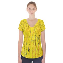 Yellow pattern Short Sleeve Front Detail Top
