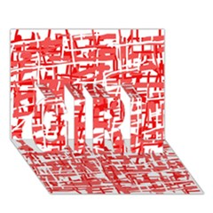 Red decorative pattern GIRL 3D Greeting Card (7x5)