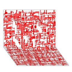 Red decorative pattern LOVE 3D Greeting Card (7x5)