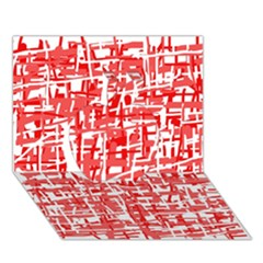 Red decorative pattern Apple 3D Greeting Card (7x5)