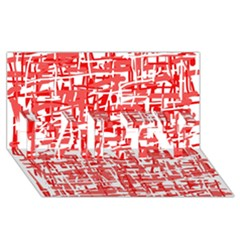 Red decorative pattern PARTY 3D Greeting Card (8x4)