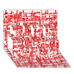 Red decorative pattern TAKE CARE 3D Greeting Card (7x5)
